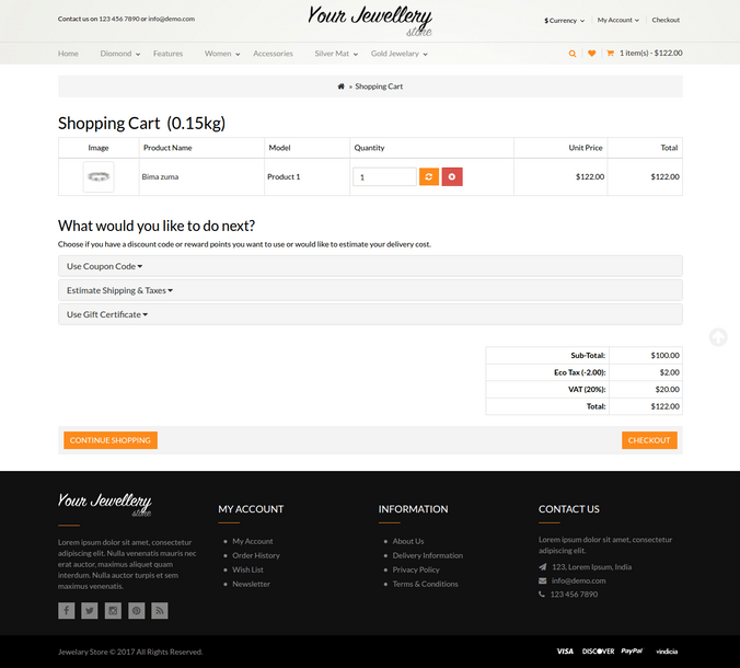 Responsive Jewellery Cart