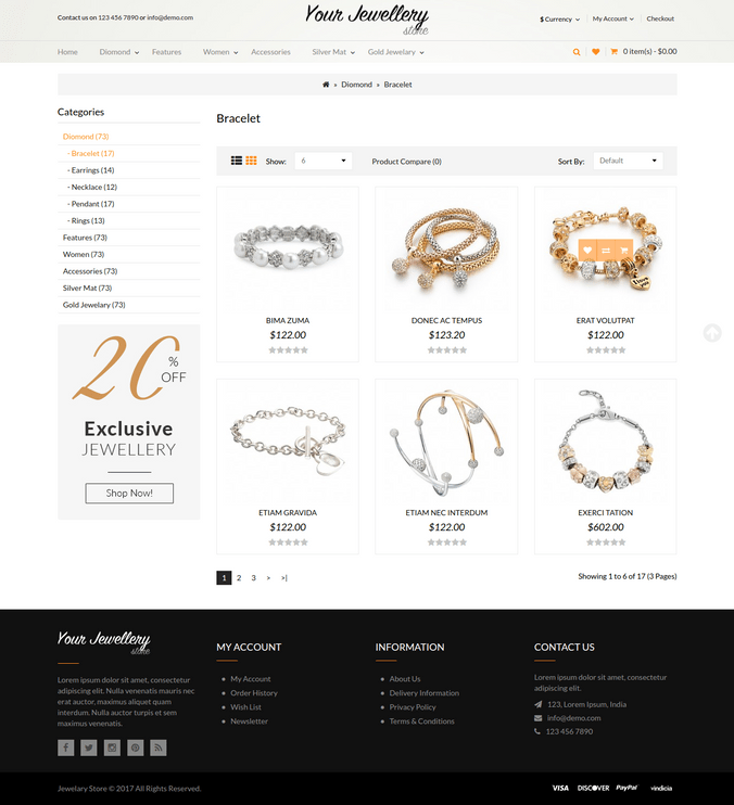 Responsive Jewellery Category