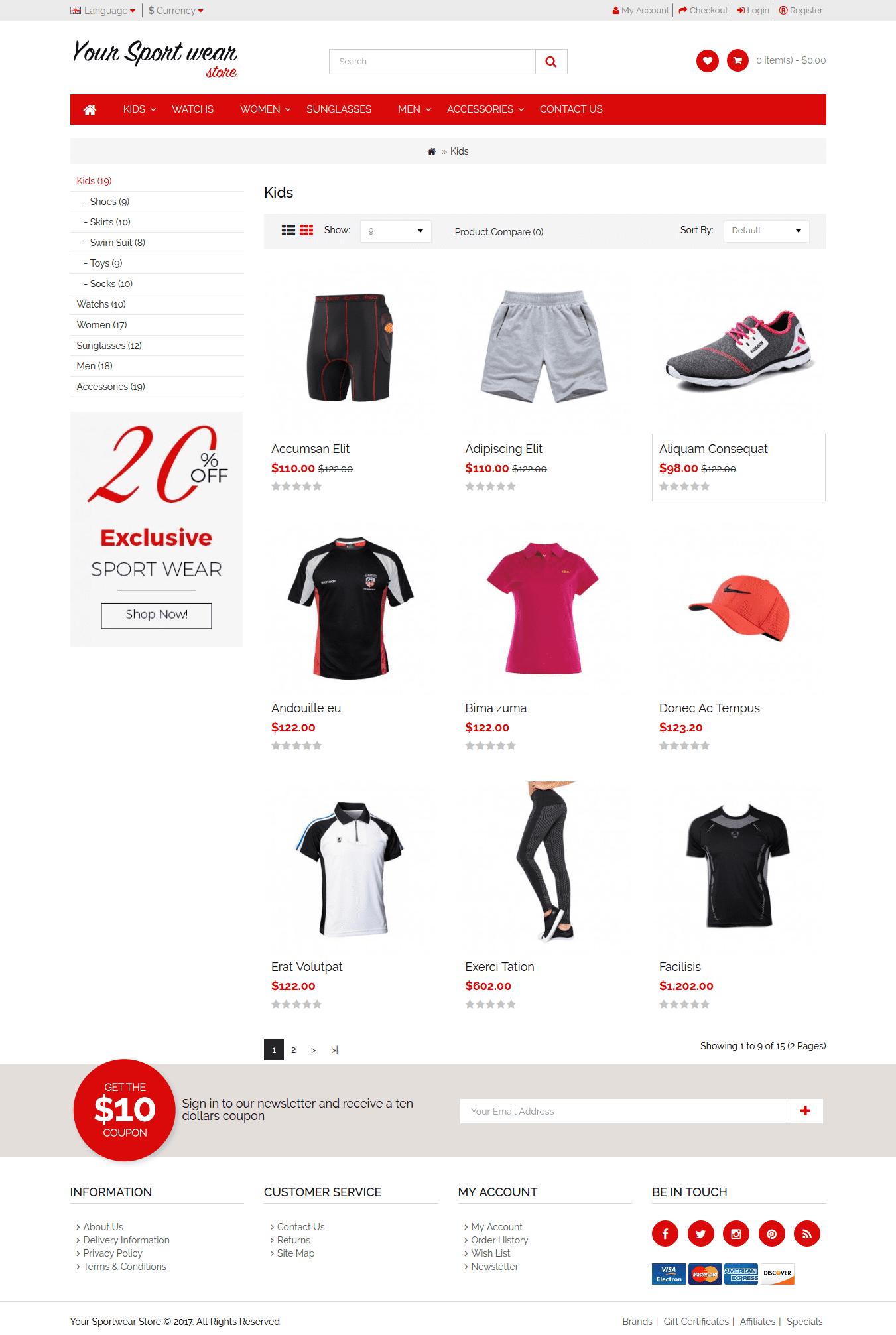 Responsive Sport Categorey