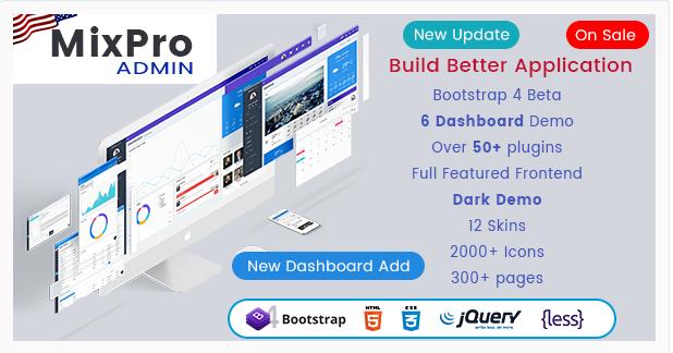 MixPro Admin – Responsive Bootstrap 4 Admin Dashboard