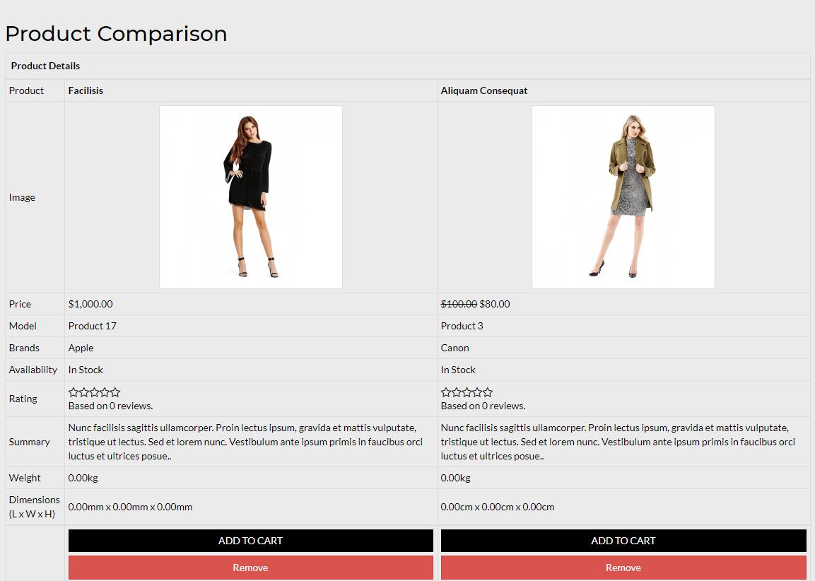 product comparisn