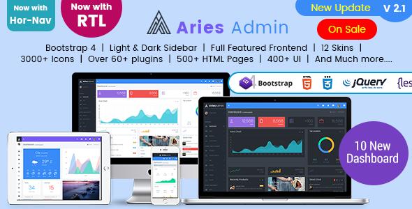 Aries Admin – Responsive Bootstrap 4 Admin, Dashboard & WebApp Template