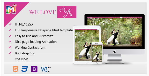 Responsive HTML One Page Wedding Template