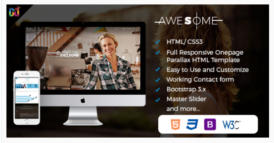 Awesome – Responsive One Page HTML Template