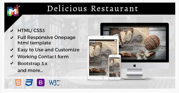 Responsive One Page Restaurant HTML Template
