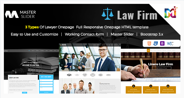 Responsive HTML Template Law Firm – One Page