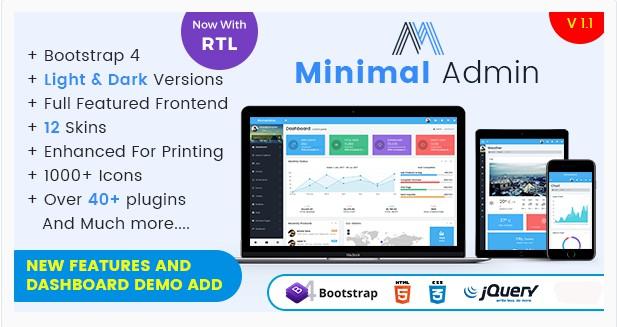 Minimal – Responsive Bootstrap 4 Admin Dashboard