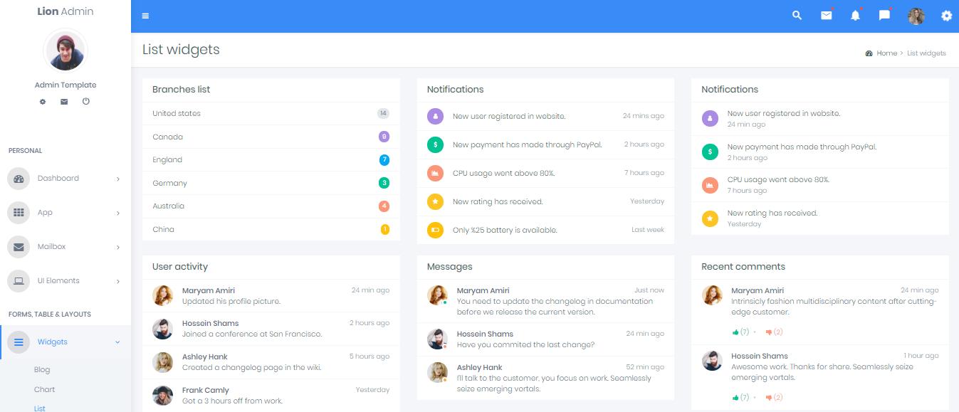 Admin Dashboard Templates