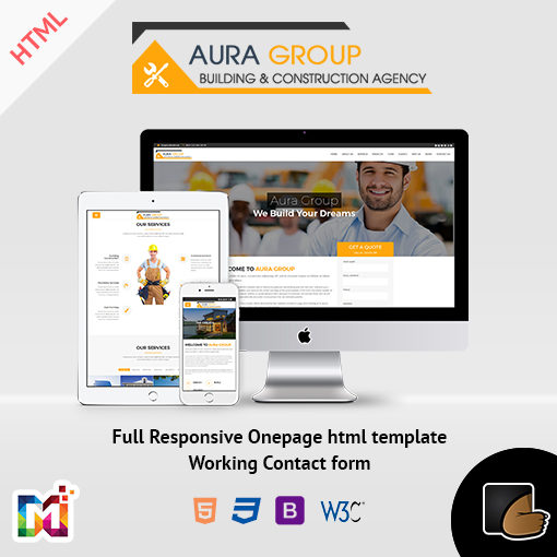 Aura – Construction Contractor Renovation Responsive HTML Template