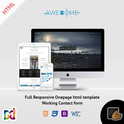 Awesome – Responsive Onepage Parallax HTML Template