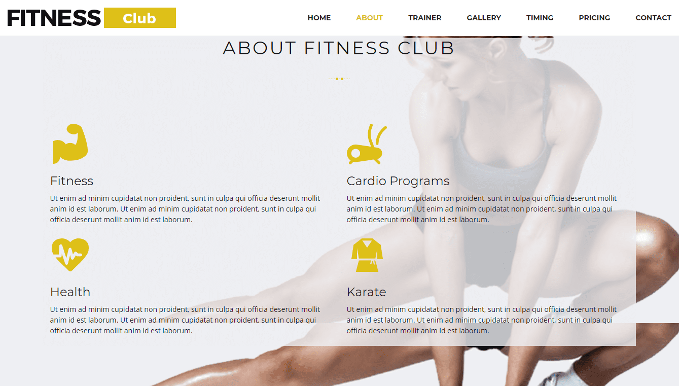 about fitness club