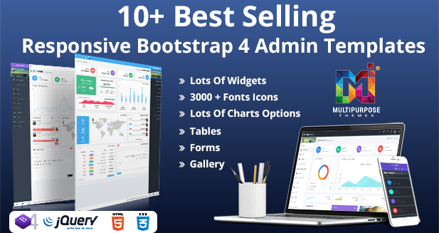 10+ Best Selling Responsive Bootstrap 4 Admin Templates – Detail Features