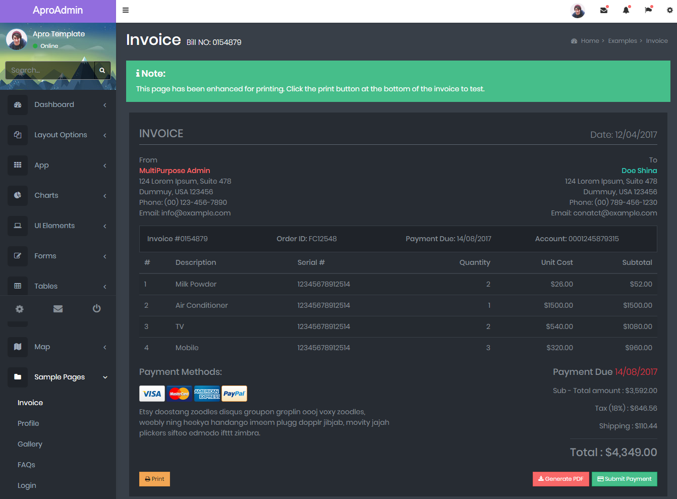 Bootstrap Admin Template