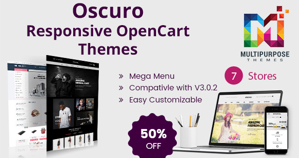 7+ Stores Oscuro – Responsive OpenCart Themes