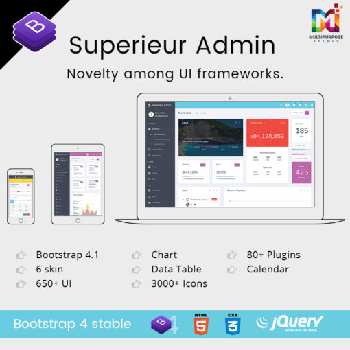 Superieur Admin – Responsive Bootstrap 4 Admin Template Dashboard Web App