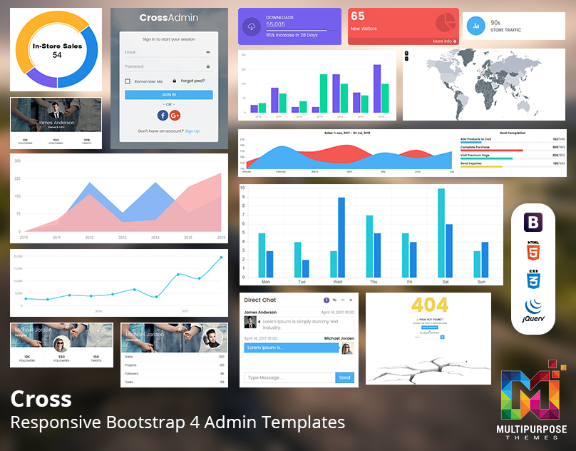 Cross – Multipurpose Bootstrap Admin Templates