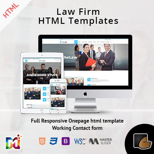 Responsive Website Template Law Firm – One Page