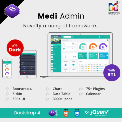 Medi Admin – Responsive Bootstrap Admin Templates With UI Framework For Web Apps Templates