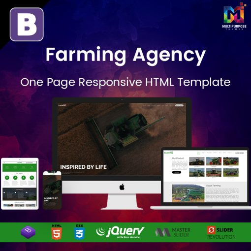 Farming Agency – One Page Responsive HTML Template