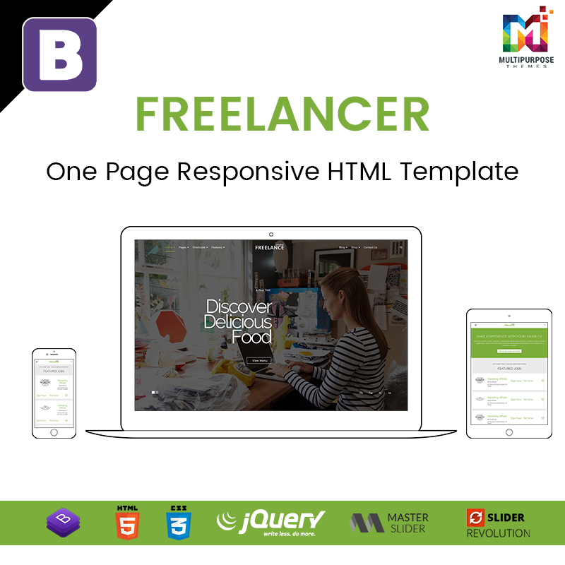 Freelancer – One Page Responsive HTML Template