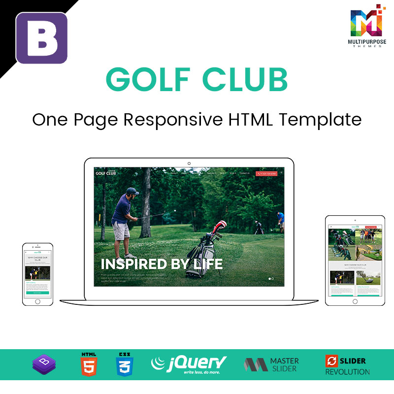 Golf Club – One Page Responsive HTML Template