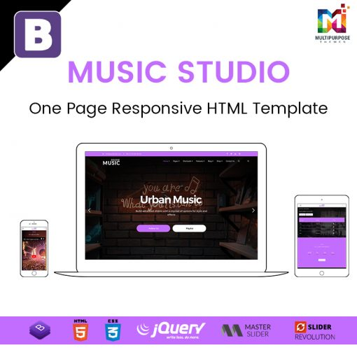 Music Studio – One Page Responsive HTML Template