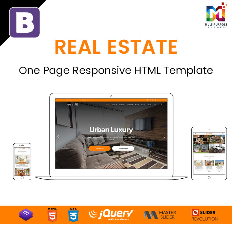 Real Estate – One Page Responsive HTML Template