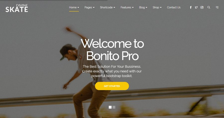 Divine Pro Skate – One Page Parallax HTML Template