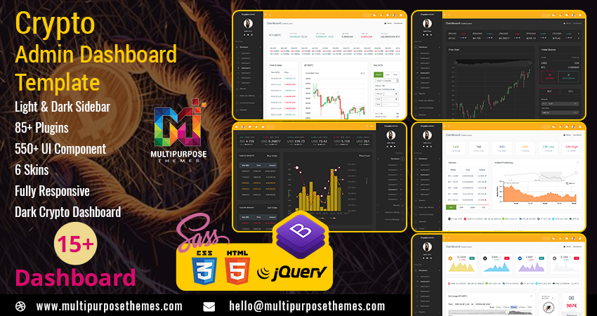 Dark RTL Cryptocurrency Dashboard Admin Template