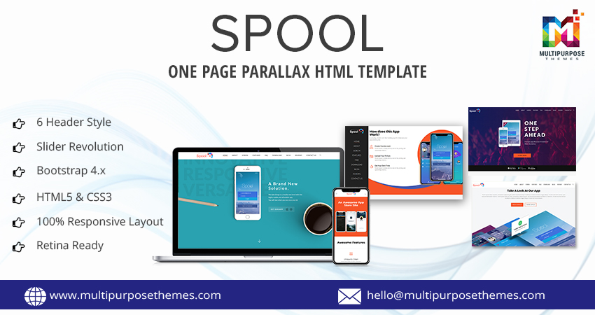Spool Business HTML Template – One Page Parallax