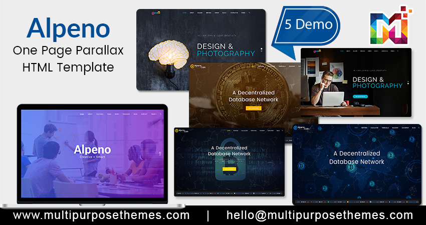 One Page Parallax HTML Template – Alpeno Crypto