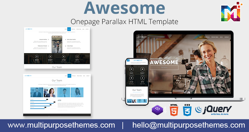One Page Parallax HTML Template – Awesome Bootstrap HTML Template