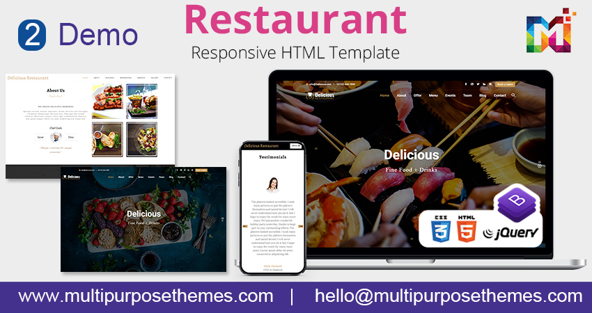 Multipurpose HTML Template – Restaurant Business HTML Template