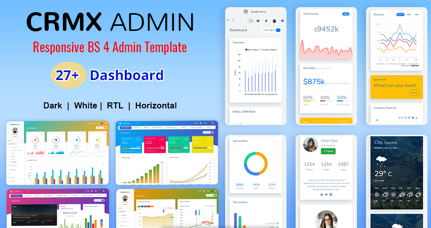Bootstrap 4 Admin Templates – CRMX With Analytical Dashboard
