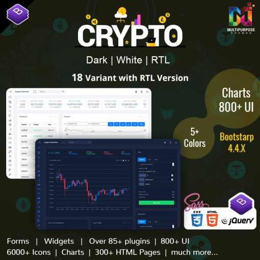 Crypto Tokenizer CryptoCurrency Admin Template