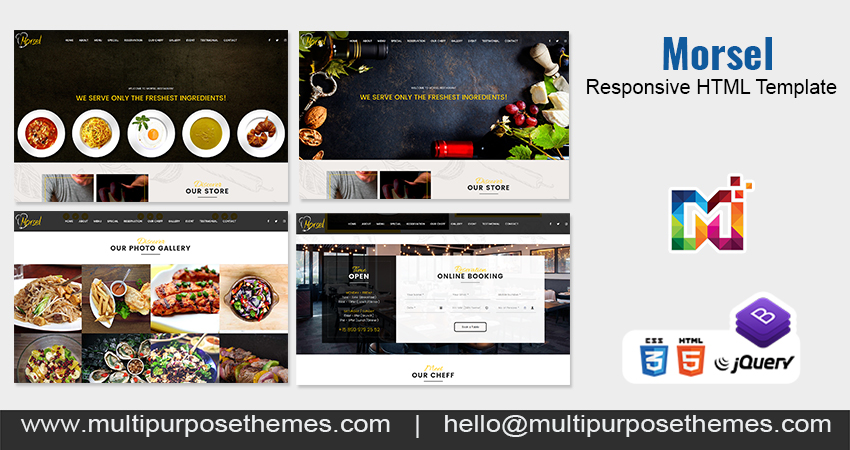 One Page Parallax HTML Template – Morsel Restaurant Business HTML Template
