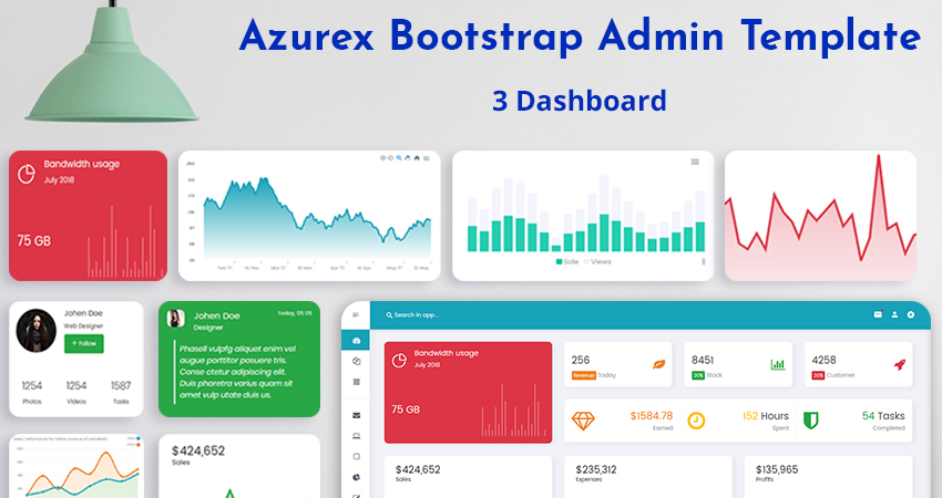 Admin Template With 3 Responsive Admin Dashboard – Azurex