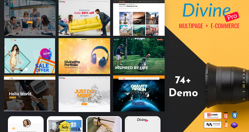 Bootstrap HTML Template – Divine Pro With 74+ Home Pages For Creating Multiple Creative Websites