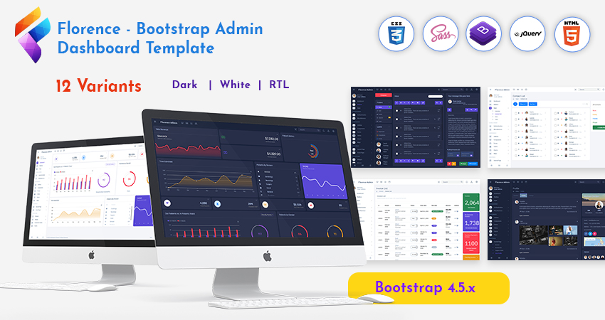 Bootstrap Admin HTML And Dashboard Admin Template – Florence With Responsive Web Application Kit