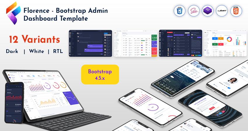 Bootstrap Admin Template In Dark, RTL And Light Version With Bootstrap UI Kit – Florence