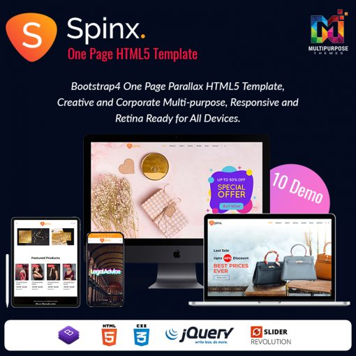 Spinx HTML – One Page Parallax HTML Template