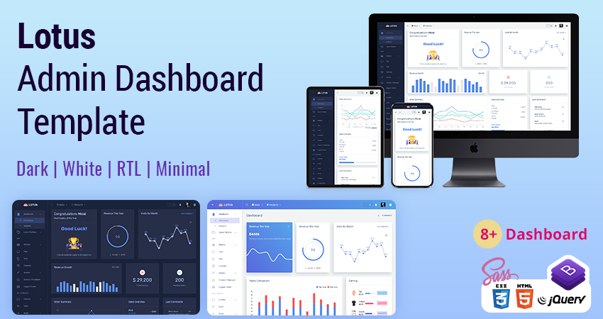 Responsive Bootstrap 4 Admin And Admin Panel – Lotus With Admin Dashboard UI Kit
