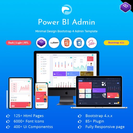 Power BI – Responsive Bootstrap Admin Templates With UI Framework