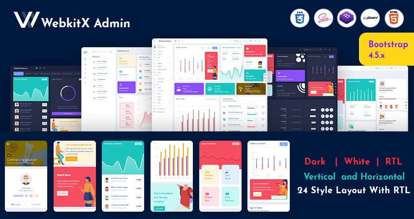 Premium Admin Template And Bootstrap Admin Web App – WebkitX With Bootstrap UI Kit
