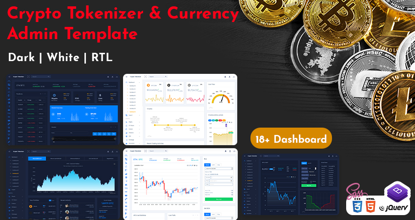 Crypto Tokenize Admin Template With ICO User Dashboard