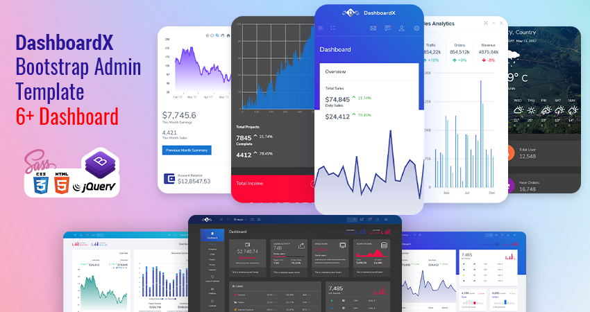 6 Dashboard Bootstrap HTML Admin Panel Template – DashboardX With Flat Html Dashboard Template UX UI Kit