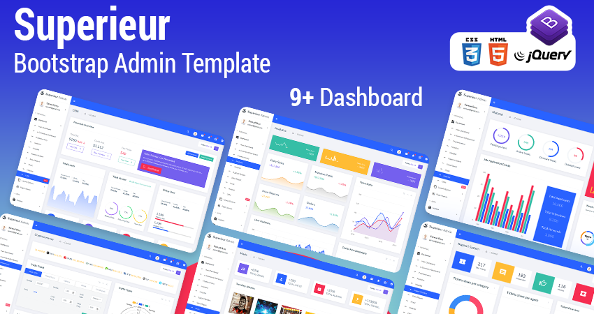Superieur Bootstrap HTML Admin Panel Template With Admin Dashboard UI