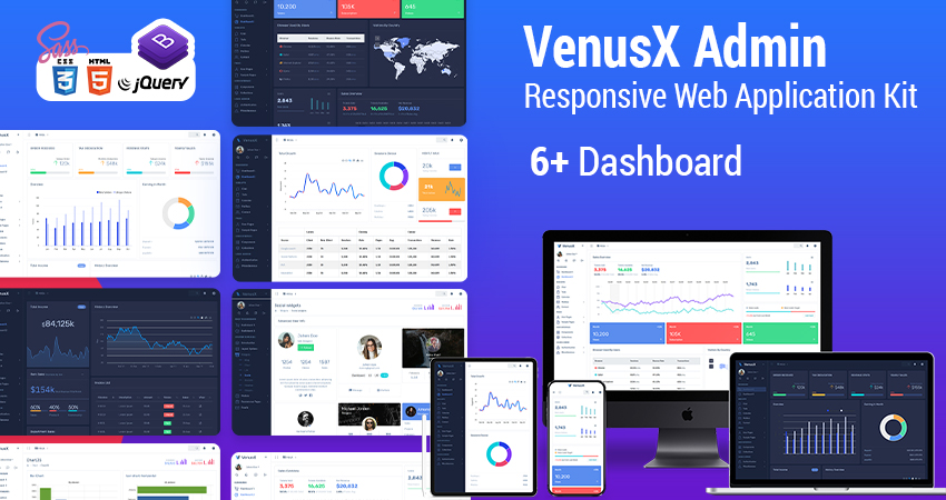 JQuery HTML Admin Panel Template – Venus X With Responsive Dashboard UI Kit