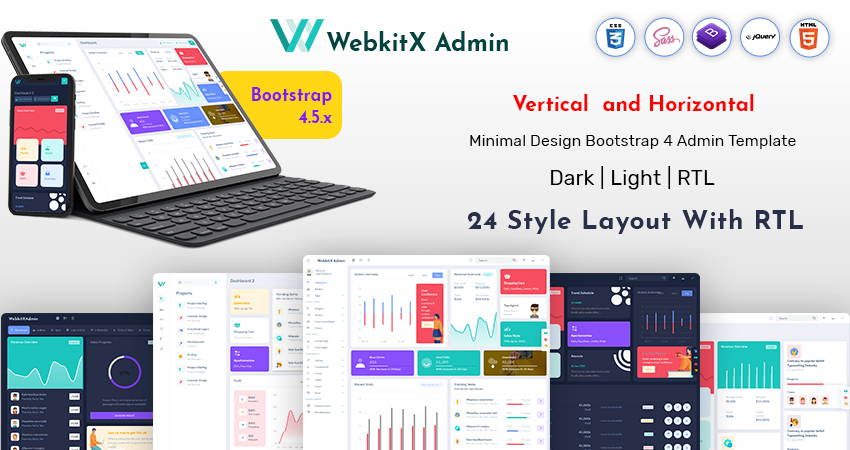 Bootstrap HTML Admin Panel Template – WebkitX With Bootstrap Dashboard Ui Kit